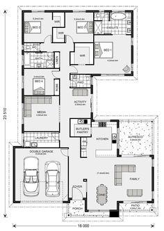 Lakeview 297 - G. Gardner Homes Sims House Plans, Dream House Plans, House Floor Plans, Home Design Floor Plans, Plan Design, Australian Homes, Australian House Plans, White Farmhouse Exterior, Hotel Floor Plan