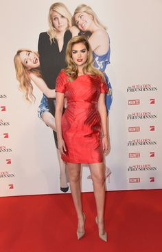 Kate Upton wears a red Fendi mini dress to 'The Other Woman' Premieres in Munich.