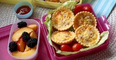 "Lunch box ideas. (Some suggestions are debatable in terms of ""healthy"" snacks)."