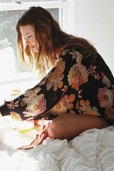 floral kimono.  i've always wanted one.  but have yet to find the right print.