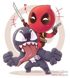 chibi marvel Deadpool Commission by Richard Allan by Iksia Cute Deadpool, Deadpool Chibi, Deadpool Fan Art, Chibi Marvel, Deadpool And Spiderman, Marvel Art, Marvel Avengers, Marvel Comics, Deadpool Tattoo