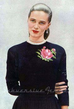7e8a0591151eb The Vintage Pattern Files  1950s Rose Patterned Sweater Vintage Crochet