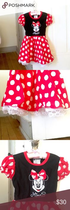 Authentic Disney Minnie Mouse Dress. 3T/4T. FIRM. This dress was only once... To meet MIckey Mouse. :)  Exceptionally good quality and excellent condition. We bought this at Disney Parks.  The tag says x-small, but my daughter wore this as a 3T. It probably would fit a 4t, but not bigger than those sizes. :)  *This item is excluded from my 2 for $15 bundle deal on kids items. Price is firm. Disney Dresses