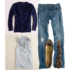 Simple casual.  Cardi, jeans, leopard flats