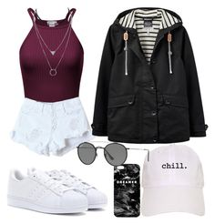 """""""❤"""" by emilizastyles ❤ liked on Polyvore featuring Mr. Gugu & Miss Go, WithChic, adidas, Joules, Ray-Ban, StreetStyle, denim and maroon"""