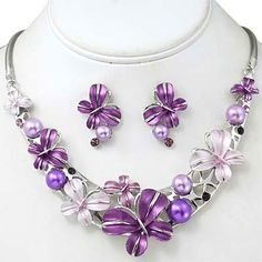 Boutique Style Jewelry Purple Butterfly Necklace Set
