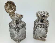 Pair Silver Scent Bottles. (United Kingdom)