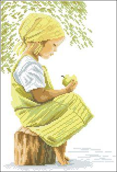 "Girl dressed in ""Apple green""...Point de croix *m@* Cross stitch."