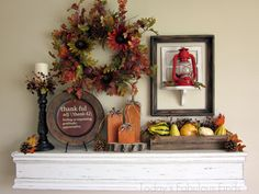 DIY mantel shelf (and nifty tip for hanging it securely!) plus cute ideas for Thanksgiving decorating - must remember for next year! Diy Mantel, Mantel Shelf, Mantle Ideas, Thanksgiving Decorations, Seasonal Decor, Halloween Decorations, Thanksgiving Ideas, Autumn Decorations, Thanksgiving Celebration