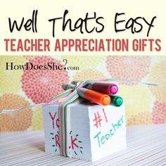 I was super excited when Cindy asked me to participate in her teacher appreciation gift ideas series. Teacher Appreciation Week is the first week in School Gifts, Student Gifts, Teacher Gifts, Teacher Presents, School Days, High School, Color Pencil Vase, Apreciação Do Professor, Craft Gifts
