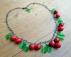 Cherry necklace, 40's 50's inspired lampwork fruit necklace, glass cherries.