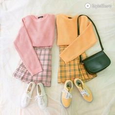 The pink and yellow bff outfit Yellow Skirt Outfits, Pink Outfits, New Outfits, Cool Outfits, Vintage Outfits, Fashion Outfits, Matching Outfits Best Friend, Best Friend Outfits, Oufits Casual