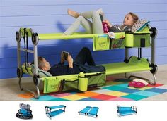 SO cool! Perfect for saving space in your tent and I really love how it can convert into a couch too!  Portable bunk bed with organizers: http://amzn.to/1MJ03HB