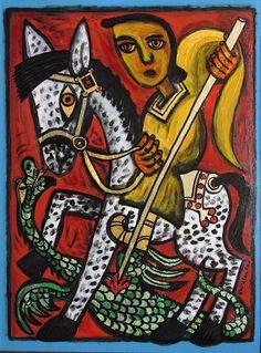 """Saint George and the Dragon  (24"""" x 18"""") Brian Whelan"""