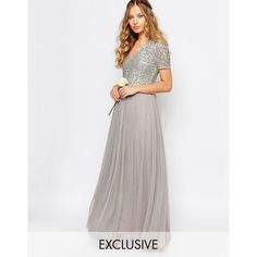 Maya V Neck Tulle Maxi Dress With Tonal Delicate Sequins ($120) ❤ liked on Polyvore featuring dresses, grey, sequin maxi dress, gray cocktail dress, gray maxi dress, v neck cocktail dress and v-neck maxi dresses