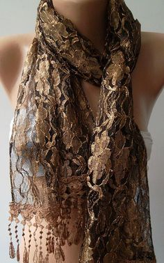 Gold Beown- Elegance  Shawl / Scarf with Lacy Edge