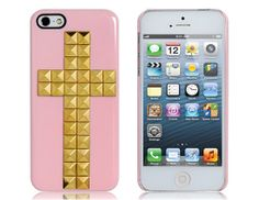 For Iphone 5s Phone Case 3D Cross Shaped Rivet Decoration Plastic Cover