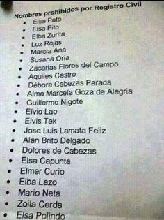 Nombres prohibidos.