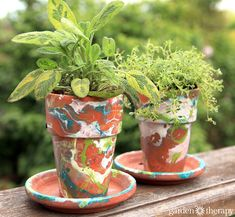 An easy and fun project - using nail polish and water to marble pots!