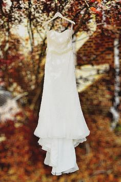 "beautiful fall & modern wedding gown from Amanda & Keith's DIY ""Woodland"" Maryland Fall Wedding"