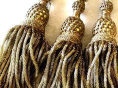 19THC CLOISTERWORK THREE GOLDEN BULLION FRINGE TASSELS EXTRAORDINARY 16