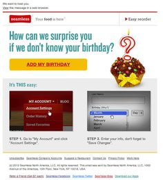 """Seamless """"what's your birthday?"""" email"""