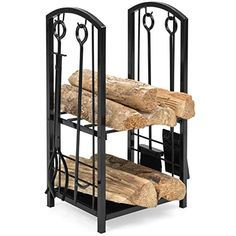 Best Choice Products Fireplace Log Rack w/ Hook, Broom, Shovel, Tong (Black) - Organize, hold, and manage your firewood and fireplace tools all with one storage rack. Made for indoor and outdoor use, this storage rack includes extra room for firewood with two shelves perfect for holding a variety of home items. The rack includes 4 tools made from wrought iron to withstand f...