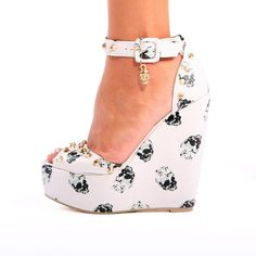 Iron Fist Apparel - black and white skull wedge ankle strap platforms www.ironfistclothing.com