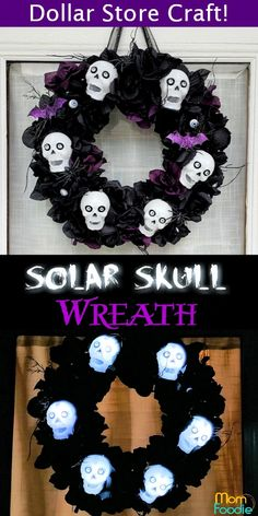 Solar Skull and Roses Wreath - Halloween Dollar Store Craft! - Mom Foodie