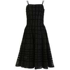 Preowned 1950's Black Lace With Caged Effect Velvet Cocktail Dress (5,475 MXN) ❤ liked on Polyvore featuring dresses, vintage, black, floral fit-and-flare dresses, lace fit and flare dress, floral skater skirts, floral dresses and fit and flare dress