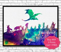 Lord of the Rings 4 Watercolor Art Print Wall Hanging by ArtsPrint