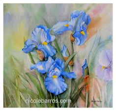 Blue Iris Floral Art Print 8x8 Home Decor by NicoleBarrosArt, $14.00