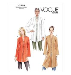 V7854: Lightweight tunic, crepe or linen.  Short: 2 (45) / 1 3/8 (60) Medium: 2 3/8 (45) / 1 5/8 (60) Long: 2 7/8 (45) / 2 1/8 (60)  1 - 1.25 yards interfacing; 1 yard contrast (optional)  Hooks and eyes or buttons (7)