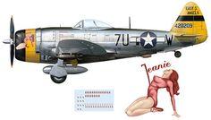 P-47D-28-RE (s/n 44-20209) coded '7U-W' and named Jeanie of 23rd FS / 36th FG.