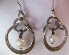 Freshwater Pearll and Oxidized Sterling Silver Horseshoe Earrings on Etsy, $85.00