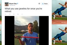 A gold medal performance: Retired Olympic champion Bryan Clay uses a javelin to remove daughter's tooth. Olympic Champion, Lets Celebrate, Fathers, Olympics, Tooth, Dads, How To Remove, Daughter, Clay
