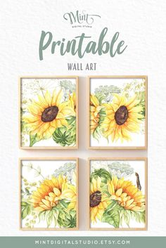 Add a little ray of sunshine into your space with this bright and cheerful collection of fine art prints. Sunflowers are a brilliant reminder to keep your face towards the sunshine so you will not see the shadows. Inspiring and beautiful, this set is sure to bring light and energy into any space. #Sunflowers #FloralPrints