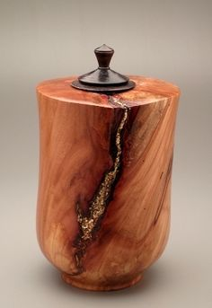 Wood Turned Vessel with  inlay (gold mica)