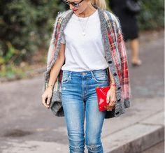 white tee + jeans + plaid cardigan