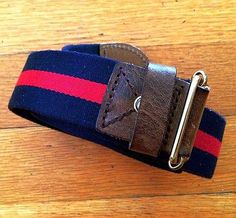 Rag & Bone Belt (Men's Pre-owned Canvas Belts, Navy, Red & Gold Leather, Made In England)