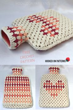 Want to crochet your own hot water bottle cover? Click through for my free hot water bottle cover crochet pattern with a heart motif design. Crochet Pattern Free, Knitting Patterns, Crochet Patterns, Crochet Home, Crochet Gifts, Diy Crochet, Yarn Projects, Crochet Projects, Water Bottle Covers