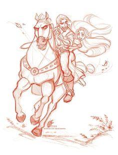 Tangled - Rapunzel, Eugene, Maximus: disney, flynn rider [ Love this movie! Love this artist! ]