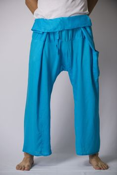 Unisex Thai Fisherman Pants in Blue – Harem Pants