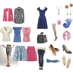 Minimalist Ispiration-- A simple wardrobe in colors-not just neutrals! Pick flattering, coordinating colors: Blue, rose, cream and gray - I like the cardigans and blouses 10 Piece Wardrobe, 10 Item Wardrobe, Core Wardrobe, Minimal Wardrobe, Simple Wardrobe, Wardrobe Basics, Summer Wardrobe, Capsule Wardrobe, Soft Classic Kibbe