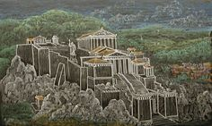 Waldorf ~ 5th grade ~ Ancient History ~ Acropolis ~ chalkboard drawing