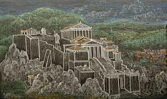 Waldorf ~ 5th grade ~ Ancient History ~ Acropolis ~ chalkboard drawing