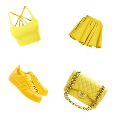 """""""Yellow"""" by nilay-2 on Polyvore featuring mode, Merci Me London, LE3NO, adidas Originals en Chanel"""