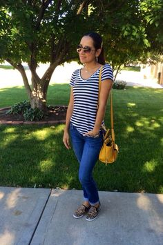 Stripes, leopard, jeans, pop of color #comfy Mexi-Sweet | A look into my closet