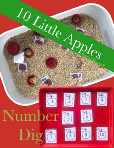Apple Tot School - Themes for your toddler home school Sensory Bins, Sensory Activities, Sensory Play, Apple Life Cycle, Apple Theme, Printable Numbers, Numbers Preschool, Learning Time, Unit Plan
