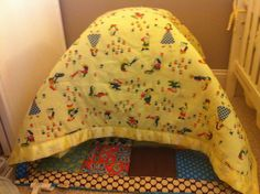 When your little one has outgrown the play-mat, throw a blanket over the top of it, put some toys inside and make a tent that they can easily crawl in and out of! My 8 month old loves this! Also makes for some great games of peek-a-boo.